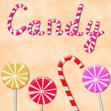 Background with the word candy and lollipops Stock Images
