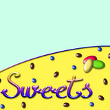 Background with the word sweets Stock Images