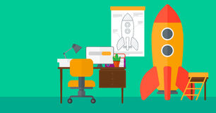 Background of workspace with business start-up rocket. Royalty Free Stock Photo