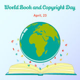 Background for World Book and Copyright Day with globe and letters. Vector illustration for you design, card, banner Royalty Free Stock Photo