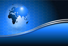 Background with world globe. Business background blue with world globe, vector Royalty Free Stock Photo