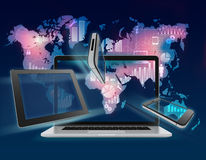 Background world map with information icon over. Laptop, phone and tablet Royalty Free Stock Photo