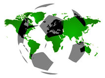 Background of world map, modern football. A map of the world in modern design, football theme Stock Image