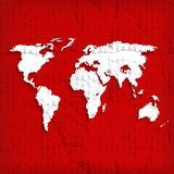 Background with world map on red Royalty Free Stock Photo