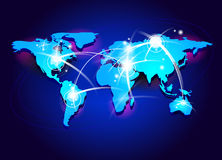 Connectivity concept. Background with world map and special effects representing connectivity and international communications stock illustration