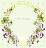Background with a wreath of flowers Royalty Free Stock Photo