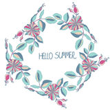 Background with a wreath of flowers and lettering Hello summer Royalty Free Stock Photo