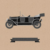 Background wwith an old car. Vector background with an old black car Royalty Free Stock Images