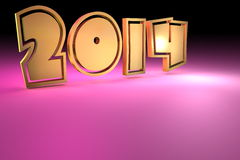 2014 background. Year 2014 in gold letters on pink background with copy space Stock Images