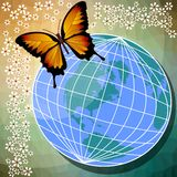 Background with yellow butterfly, globe and small white flowers. For use on leaflet, flyer or website Stock Photography