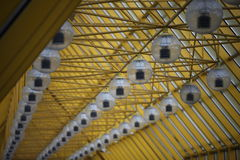 Background, yellow glass bridge in Moscow, Russia Stock Photos