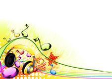Background with yellow headphones. And notes Stock Illustration