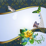 Background with yellow rose Stock Photography
