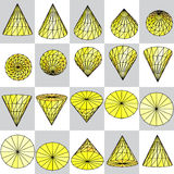 Background of yellow rotating cone on a plaid pattern Stock Images