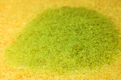 Background with yellow sponge and green dishwashing detergent. Stock Images