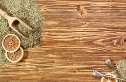 Background - yerba mate and bombilla on a wooden table Stock Photography
