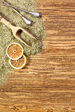 Background - yerba mate and bombilla on a wooden table Stock Photo