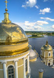 View from the bell tower of the Epiphany Cathedral in the direction of the gate Church of Reverend Nilus Stolobensky. In the background you can see the nearest Royalty Free Stock Image