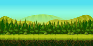 Background for you game with green forest on foreground and hills and fields on background. Illustration. clean and bright Stock Photography