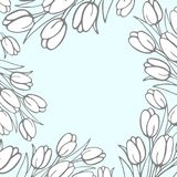 Background for your image or text with flowers of snowdrops in t. He style of hand-drawn in light blue color. Vector image Royalty Free Stock Image