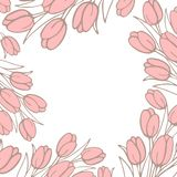 Background for your image or text with tulips in the style of hand-drawn in light pink color. Vector image stock illustration