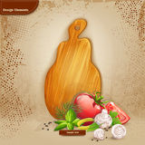 Background for your text with a cutting board and vegetables Stock Images