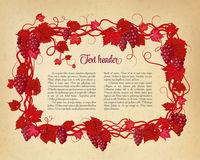 Background for your text with oldest paper and vines in vintage style. Royalty Free Stock Photos