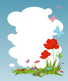 Background for your text with red poppies Royalty Free Stock Photography