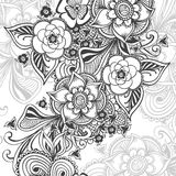 Background   with Zen-doodle pattern black on white Royalty Free Stock Image