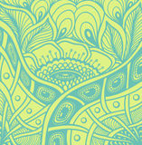 Background  with  Zen tangle or Zen doodle flowers pattern in green Stock Photography