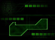 Background2. Illustration background of computer circuitry and mapping, with blank box for adding text Royalty Free Stock Image