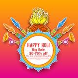 Backgroundd promozionale della pubblicità felice di Holi per il festival dei saluti di celebrazione di colori illustrazione di stock