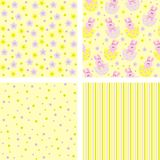 Backgrounds. Yellow backgrounds with a hare, striped, polka-dot Royalty Free Stock Photography