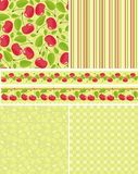 Backgrounds. And borders with cherries Royalty Free Stock Images