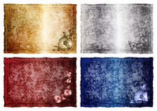 Backgrounds. Golden silver bronze blue backgrounds with some flowers, isolated on white Stock Photography