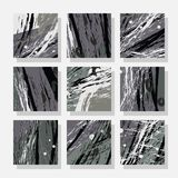 Backgrounds with abstract dynamic pattern. Collection of square backgrounds with bright abstract drawings. Dynamic composition with torn strips. Perfect for Stock Photos