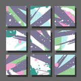 Backgrounds with abstract dynamic pattern. Collection of square backgrounds with bright abstract drawings. Dynamic compositions with chaotic strokes, stains and Royalty Free Stock Photos