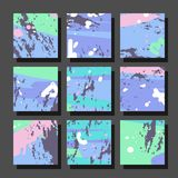 Backgrounds with abstract dynamic pattern. Collection of square backgrounds with bright abstract drawings. Dynamic compositions with chaotic strokes, stains and Stock Photo