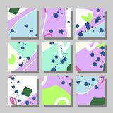 Backgrounds with abstract dynamic pattern. Collection of square backgrounds with bright abstract drawings. Dynamic compositions with chaotic strokes, stains and Royalty Free Stock Image
