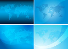 Backgrounds with abstract vector maps - blue set Stock Images