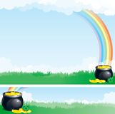 Backgrounds avd banner for St. Patricks Day. Vector Landscape of rainbow, pot with gold coins on green meadow stock illustration