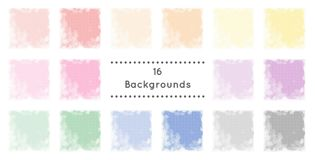 16 backgrounds. Background, border, texture, pattern - Colorful - red - orange - yellow - rose or pink - purple or lilac - green - blue - gray royalty free illustration
