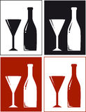 Backgrounds with bottle and glass. Set backgrounds with wine bottle and glass Royalty Free Stock Photography