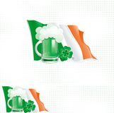 Backgrounds with clover leaves. Vector Background and banner of irish flag, cup with green beer and clover for St. Patricks Day Royalty Free Stock Photography