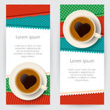 Backgrounds with coffee cups and colorful patterned patches Stock Photo
