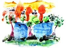 Backgrounds24 coloré abstrait Le fond multicolore a fait en technologie mélangée f illustration libre de droits