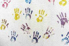 Handprints on the wall Royalty Free Stock Images