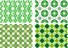4 Backgrounds. Colorful vintage background with clover leafs stylised Stock Photography
