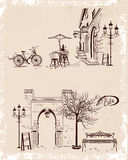 Backgrounds decorated with old town views and street cafes. Series of backgrounds decorated with old town views and street cafes for brochures, flyers and other royalty free illustration
