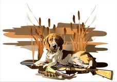 backgrounds dog hunting labrador white yellow (Διάνυσμα) Στοκ Εικόνες